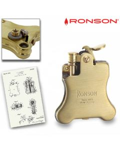 Ronson Banjo 1928 - Benzine Aansteker (Brass-Satin)