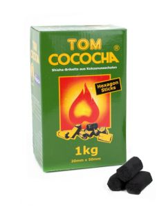 tom cococha hexagon sticks natuur kolen shisha kolen 1kg